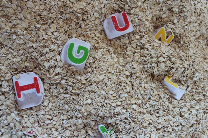 oatmeal alphabet search - perfect indoor activity for preschoolers!